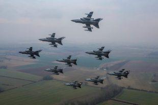 Nine Tornado aircraft in a diamond formation
