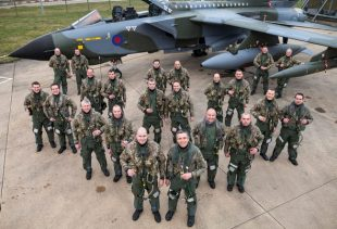 mage shows the pilots and navigators of the 9-ship formation flight standing as they sat while conducting the flypasts. THE campaign to celebrate the much loved and soon to retire Tornado aircraft continued on Thursday with a farewell flypast of a nine aircraft over East Anglia.