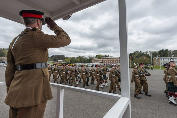 The latest recruits pass out of ITC Catterick in front of their families.