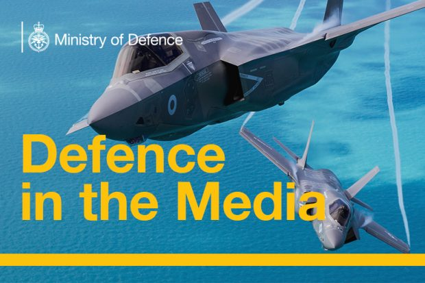 Two Royal Air Force F-35 aircraft beneath the title Defence in the Media