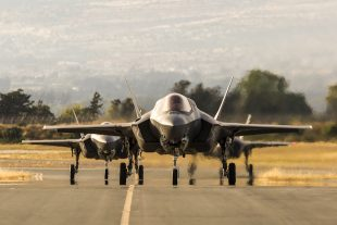 Pictured here are Royal Air Force F-35B Lightning II aircraft arriving at RAF Akrotiri (Cyprus), to take part in Exercise Lightning Dawn.