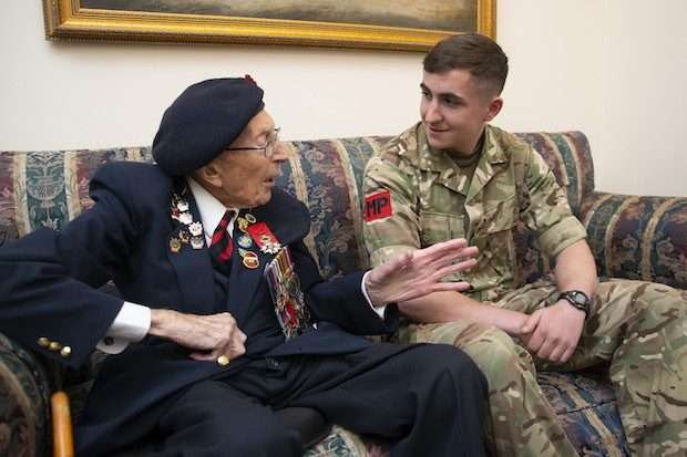 Image shows a D-Day veteran returning to Southwick House, the nerve centre of the Normandy Landings and now the regimental headquarters of the Royal Military Police.