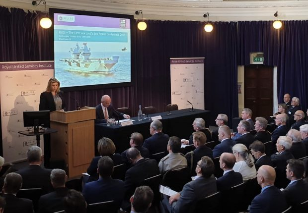 Image shows Defence Secretary Penny Mordaunt speaking at the First Sea Lord's Sea Power Conference 2019, held at RUSI. Crown Copyright.