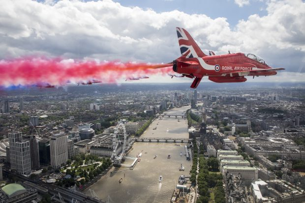 The Royal Air Force Aerobatic Team, The Red Arrows fly over London during the Queens Birthday Flypast