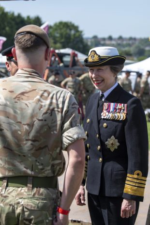 HRH The Princess Royal at the Salisbury Hudsons Field for Armed Forces Day on Saturday, talking to the troops.