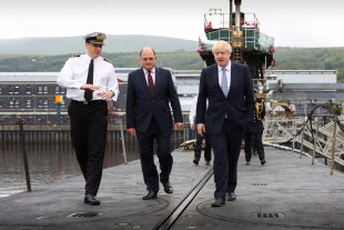 Secretary of State for Defence Ben Wallace and Prime Minister Boris Johnson onboard a Vanguard class submarine at HMNB Clyde.