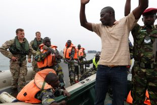 Royal Marines carry out training on boats with the Ugandan People's Defence Force