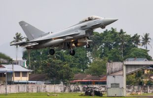 A Royal Air Force Typhoon lands at RMAF Butterworth, Malaysia, to participate in Exercise Bersama Lima 19