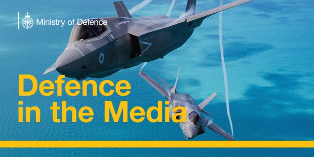Image shows F-35 jets, along with the Defence in the Media title. Crown Copyright.